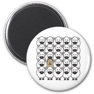 Briard in the Sheep 6 Cm Round Magnet