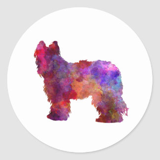 Briard in watercolor classic round sticker