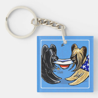 Briard Mad Hatters Off-Leash Art™ Key Ring
