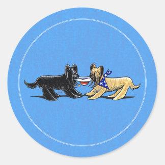 Briard Mad Hatters Off-Leash Art™ Round Sticker