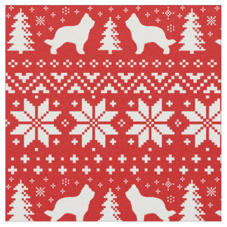 Briard Silhouettes Christmas Pattern Red Fabric
