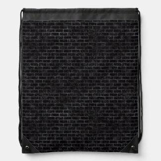 BRICK1 BLACK MARBLE & BLACK WATERCOLOR DRAWSTRING BAG