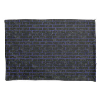 BRICK1 BLACK MARBLE & BLUE LEATHER PILLOWCASE