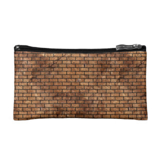 BRICK1 BLACK MARBLE & BROWN STONE (R) COSMETIC BAG