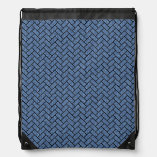 BRICK2 BLACK MARBLE & BLUE DENIM (R) DRAWSTRING BAG