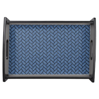 BRICK2 BLACK MARBLE & BLUE DENIM (R) SERVING TRAY