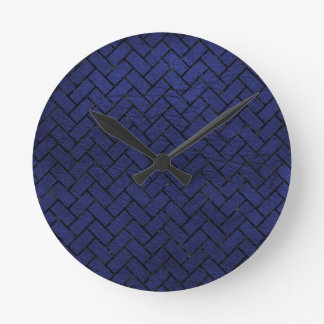 BRICK2 BLACK MARBLE & BLUE LEATHER (R) ROUND CLOCK