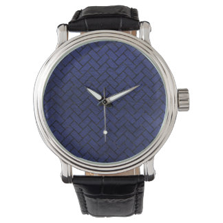 BRICK2 BLACK MARBLE & BLUE LEATHER (R) WATCH