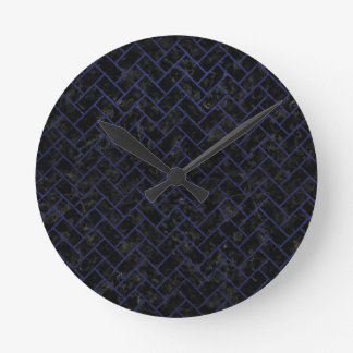 BRICK2 BLACK MARBLE & BLUE LEATHER ROUND CLOCK