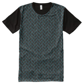 BRICK2 BLACK MARBLE & TURQUOISE MARBLE All-Over PRINT T-Shirt