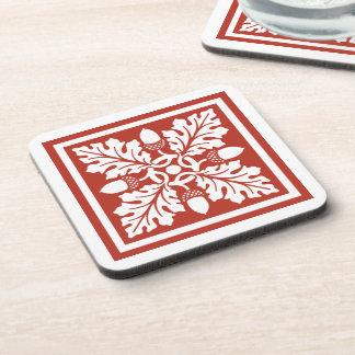 Brick Acorn and Leaf Tile Design Coaster