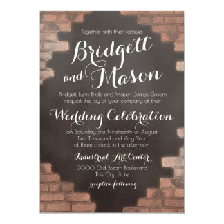 Brick and Slate Graffiti Wedding Card