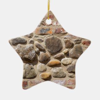 Brick and stone wall ceramic ornament