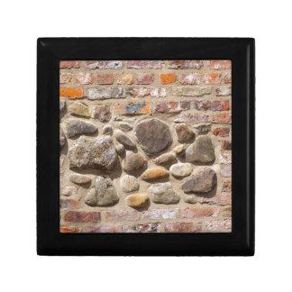 Brick and stone wall small square gift box