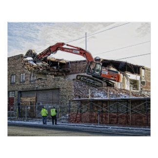 BRICK BACKHOE DEMOLITION POSTER