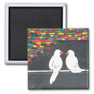 brick bird wall : graffiti wall magnet