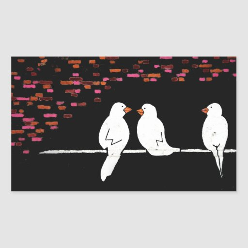 brick bird wall : graffiti wall rectangle sticker