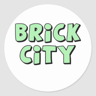 Brick City by Customise My Minifig Round Stickers