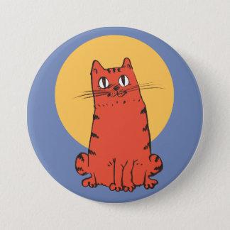 brick color cat sweet kitty funny cartoon 7.5 cm round badge