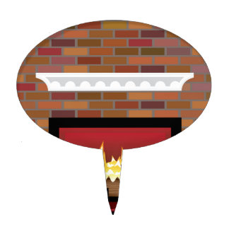 Brick Fireplace vector Cake Toppers