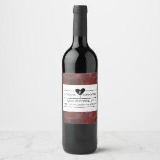 Brick Industrial Wedding Wine Label
