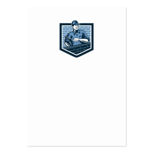Brick Layer Mason Masonry Worker Retro Business Card Templates