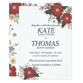 Brick red flowers  wedding invitation card.