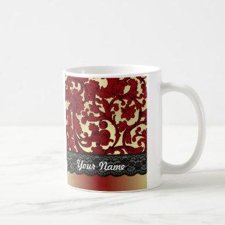 Brick red & gold damask basic white mug