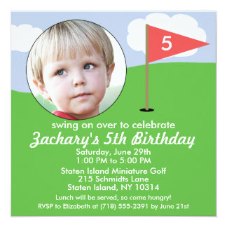 Brick Red Hole in One Photo Mini Golf Party Card