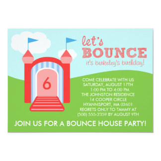 Brick Red Let's Bounce Bounce House Birthday Party Card