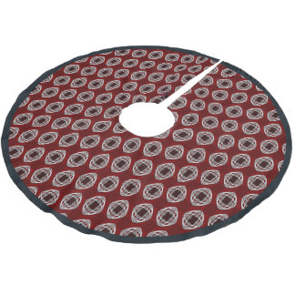 Brick Red Nouveau Checked Pattern Brushed Polyester Tree Skirt