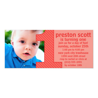Brick Red One Is Fun Photo First Birthday Party Personalized Announcements