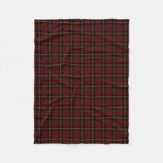 Brick red plaid black/yellow/gold fleece blanket