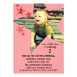 Brick Red Superstar Photo Birthday Party Personalised Announcements