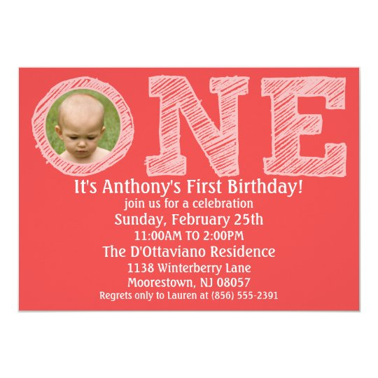 Brick Red The Big One Photo First Birthday Party Card