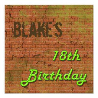 Brick Wall 18th Birthday Invitation