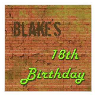 Brick Wall 18th Birthday Invitation