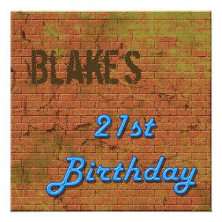 Brick Wall 21st Birthday Invitation
