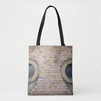 Brick wall and windows all-over-print tote bag