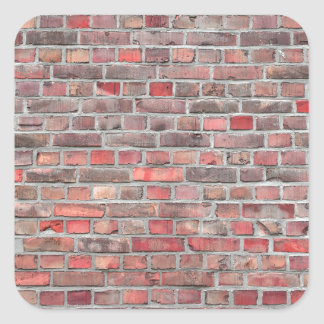 brick wall  background - red vintage stone square sticker