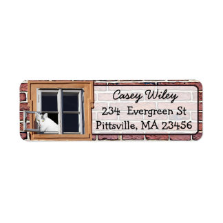 Brick Wall Cat Window background  Address Label