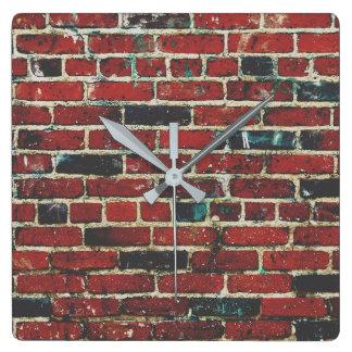 Brick Wall Cool Texture Pattern Square Wall Clock