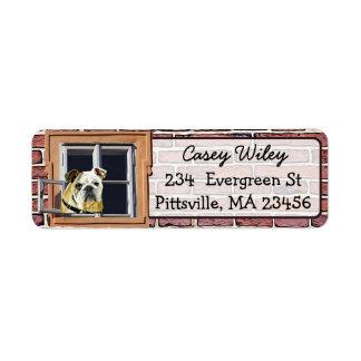 Brick Wall Dog Window background  Address Label