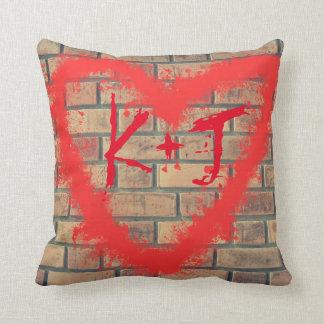 Brick Wall & Graffiti Heart Custom throw Pillow