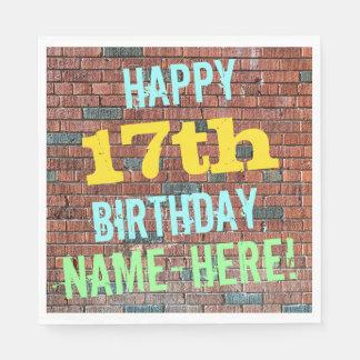 Brick Wall Graffiti Inspired 17th Birthday + Name Paper Napkin