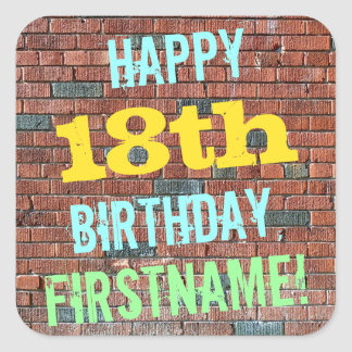 Brick Wall Graffiti Inspired 18th Birthday + Name Square Sticker