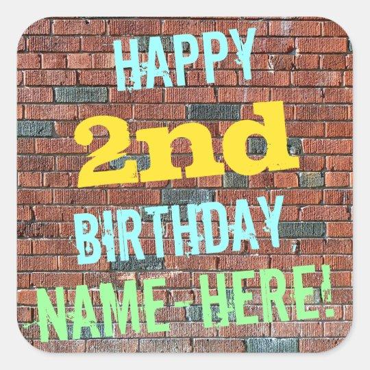 Brick Wall Graffiti Inspired 2nd Birthday + Name Square Sticker