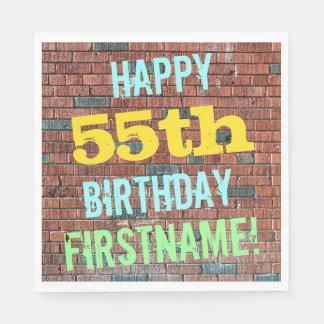 Brick Wall Graffiti Inspired 55th Birthday + Name Disposable Napkin