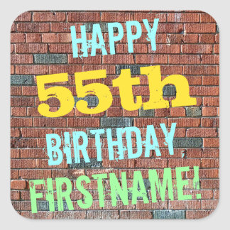 Brick Wall Graffiti Inspired 55th Birthday + Name Square Sticker