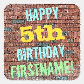 Brick Wall Graffiti Inspired 5th Birthday + Name Square Sticker